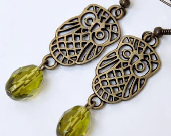 Filigree Owl Earrings, Antique Bronze Owl Earrings, Olive Green Glass Earrings, Woodland Earrings, Long Dangle Earrings, Boho Bird Jewelry