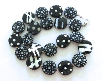 Kazuri Bead Necklace, Black and White Abstract Design Necklace