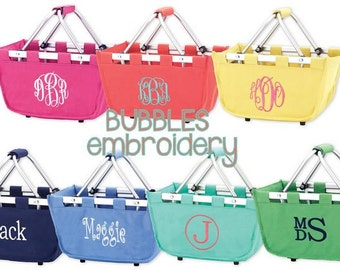 SAME day SHIP Monogrammed EASTER basket Mini Market Tote Green Pink Purple Navy Coral Hydrangea Boys Girls