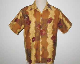 Vintage 1950s 1960s Abstract Hawaiian Tiki Shirt By Tropicana In Gold & Brown - Size M