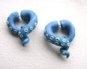 Metallic Blue Tentacle Faux Gauge Earring- Octopus