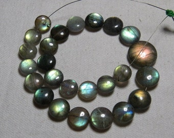 Labradorite - High Quality - AAAA - Smooth Polished Coin shape Briolletes so Amazing Gorgeous Multy Fire Huge size - 9 - 15 mm - 25 pcs