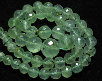 PREHNITE - 17 inches Full strand - AAA - High Quality Natural Yellow Green - Micro Faceted Round Ball Beads Huge size 5 - 10.5 mm approx