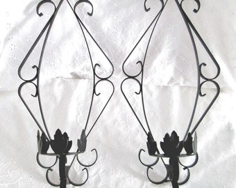Vintage Black Iron Wall Sconces Set Of 2 Wall Candle Holders Mid Century