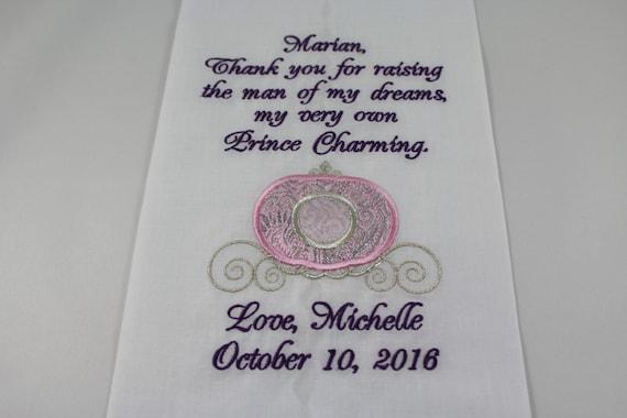 Personalised Wedding Gifts Disney : Disney Embroidered Wedding Handkerchief Princess Carriage Wedding Gift ...
