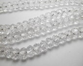Gemstone Bead, Rock Crystal Quartz, Large Rondelles, 8x5 mm