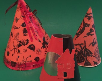 Set of 3 Vintage Halloween Party Hats