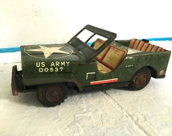 Vintage Metal Toy military Jeep