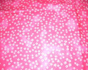 "White flowers on Bright Pink - cotton Fabric -  44"" wide - sold by the yard"