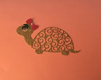 Tattered Lace Glittered Turtle Die Cuts with Big Wiggly Eyes - Set of 4