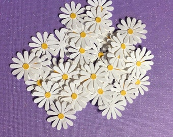 Pretty White Daisy Flower Die Cuts -Set of  24