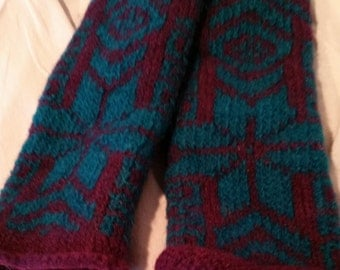 Hand Knit, Felted Wrist Warmers, #111