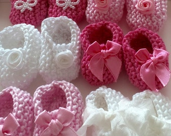 NEW Girl baby shower decorations: 6 pairs hand knit mini booties - 2 inches - shades of pink and white - decoration size only