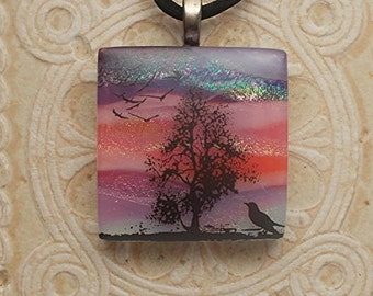 Birds & Tree Dichroic Glass Necklace DGP 057