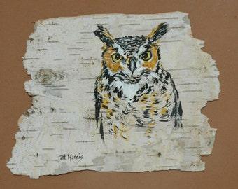 Great Horned Owl Hand Painted on Birch Bark, Framed