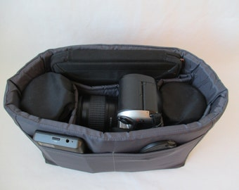 Grey Camera Bag Insert - Ready to Ship - Two Lens Sleeve-5x11x7