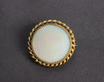 Mother of Pearl Disk in Brass Frame Pin
