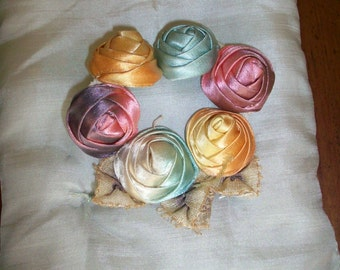 Cabochon roses of ribbon silk antique ribbon work flower authentic ombre