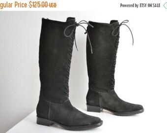 50% OFF SALE / SALE / Vintage 1990s Cole Haan suede knee high boots / 6
