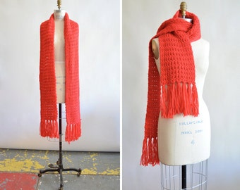 Vintage FRINGED angora wool scarf