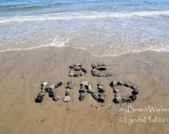 Word Art- Be Kind, Beach photo, beach stones, playroom art, beach decor, myBeachWishes, rock art, beach writing, inspirational, calming art