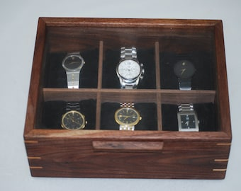 Watch Box with glass top - Holds 6 watches - Walnut