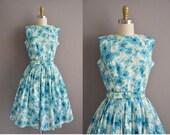 ON LAYAWAY...50s Eileen Scott blue floral polished cotton vintage dress / vintage 1950s dress
