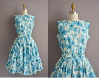 50s Eileen Scott blue floral polished cotton vintage dress / vintage 1950s dress