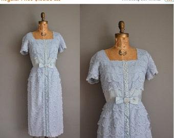 25% off SHOP SALE... vintage 1950s dress / blue satin lace party dress / 50s wiggle dress