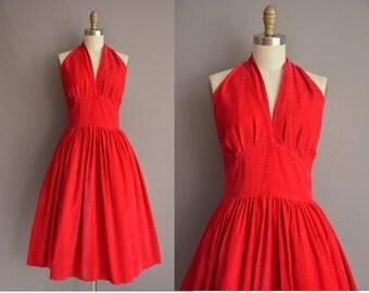 50s red corduroy halter vintage dress / vintage 1950s dress