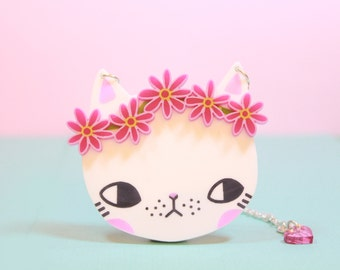 Cat with Pink Daisy Chain Necklace / gifts for her / christmas gifts