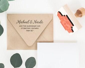 Custom Elegant Return Address Stamp - Wedding Return Address Stamp