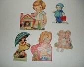 15)  Five Used Vintage Valentine Cards