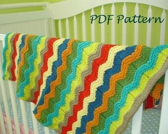 Baby blanket KNITTING PATTERN- Wavy Baby Blanket pdf knitting pattern