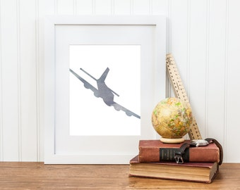 Watercolor Airplane Nursery Print - Airplane Nursery Wall Art - Digital Download - Big Boy Room, Boy Nursery Art, Airplane Art, Bomber Plane