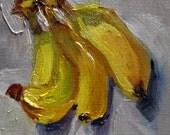 Bananas original fruit still life daily oil painting Art by Delilah