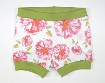 Floral Blooms | Organic Baby Shorties | Watercolor | Flowers | Baby Girl Pants | Organic Baby Clothes | Girls | Babies | Collaboration