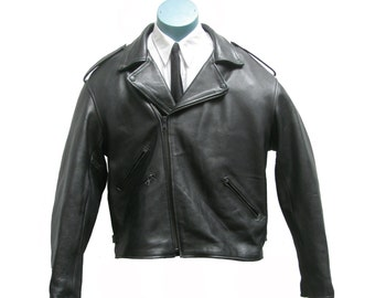 Mens Motorcycle Jacket Vintage Black Leather XX-Large Biker Jacket Mns US Size 50