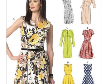 ON SALE Sz 6/8/10/12/14 - Vogue Dress Pattern V9167 - Misses' Notch-Neck Princess-Seam Dresses in Six Options - Vogue Easy Options Pattern