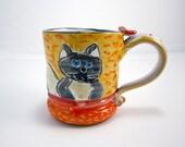 Ceramic Coffee Mug - Siamese Cat Cream and Grey Gray 12 ounces - Pottery Cup - Clay Cup Mug - Majolica Mug - Orange - Pet Cat Image