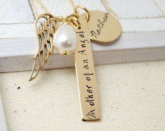 14k Gold Filled Remembance Necklace - Angel Wing Baby Memorial Necklace - Love It Personalized