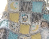 Pre Cut Rag Quilt KIT or Layer Cake~ Little owl in yellow and Aqua blue