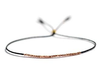 Valentine SALE Delicate rose gold and silk beaded bracelet