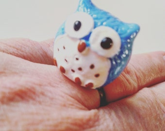 Owl ring, adjustable ring, blue owl, OWL, resin, fun, ring, blue and white, By NewellsJewels on etsy