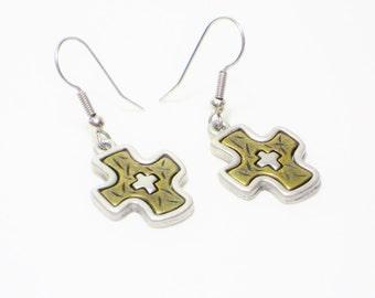 Vintage Cross Dangle Earrings, Jewelry