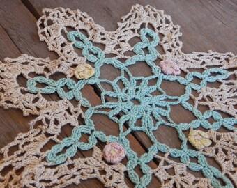 Vintage Doily Crochet Aqua Romantic Flowers Cottage Chic Handmade Home Decor