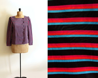 vintage blouse 1980s striped neon colors black pink retro clothing size m medium