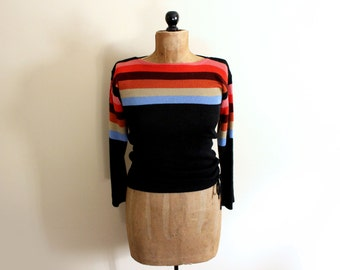 vintage sweater 1970s womens clothing black rainbow striped retro bell sleeves size small s