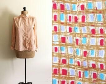 vintage blouse 70's peach 1970s womens clothing shirt retro print peter pan collar size s m small medium