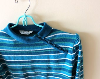 vintage sweater 80s retro turquoise blue striped button 1980s womens clothing size s m small medium